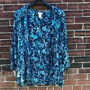 Soft Surroundings Blue Floral Kimono Jacket